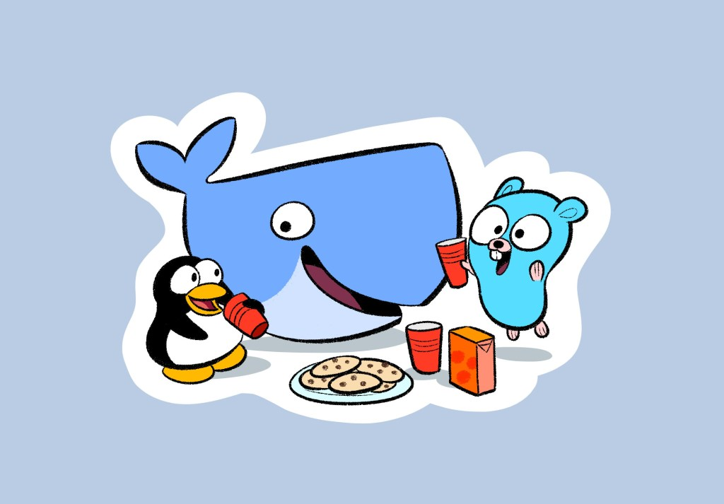 Tux(linux) - Moby Dock(docker) - Gopher (golang)